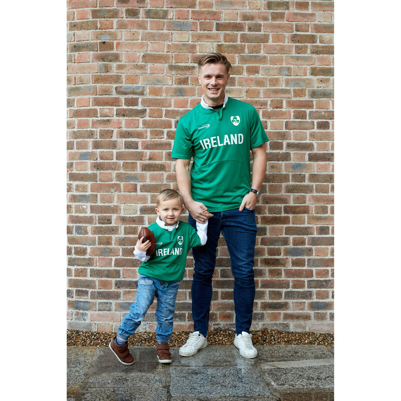Green Ireland Short Sleeve Rugby Performance Top With Shamrock Crest