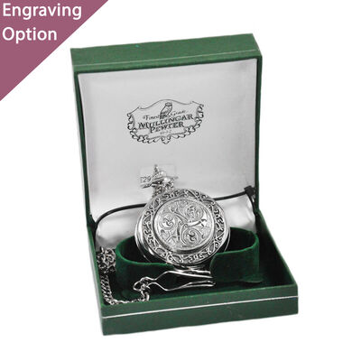 Mullingar Pewter Pocket Watch With Celtic Spiral Design And Border