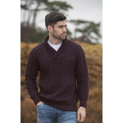 100% Merino Wool Bunratty Shawl Collar Sweater, Damson Colour