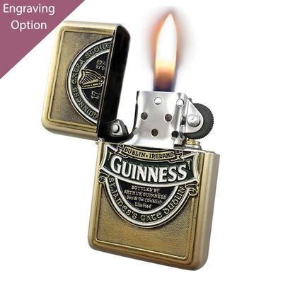 Wind Proof Oil Lighter with Gold Colour Casing - Guinness Ireland Collection