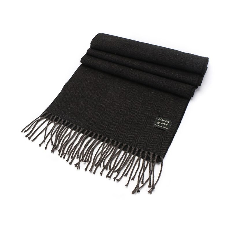 Celtic Ore Tweed Irish Scarf Herringbone Design  Black Colour