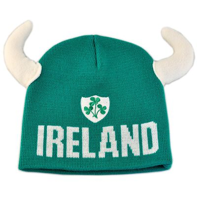 Kid's Beanie Hat with Viking Horns and Ireland Crest  Green colour