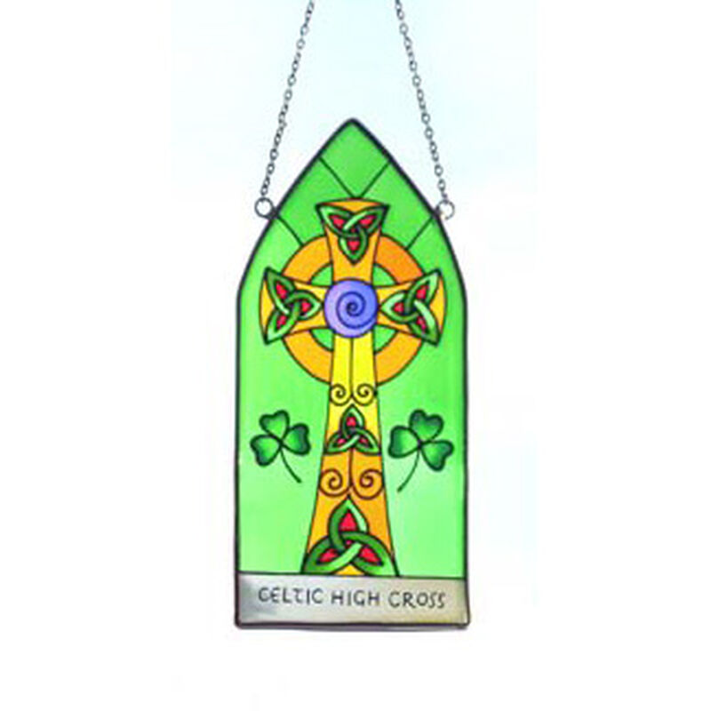 8 Stained Glass Hanging Panel With Celtic High Cross Design