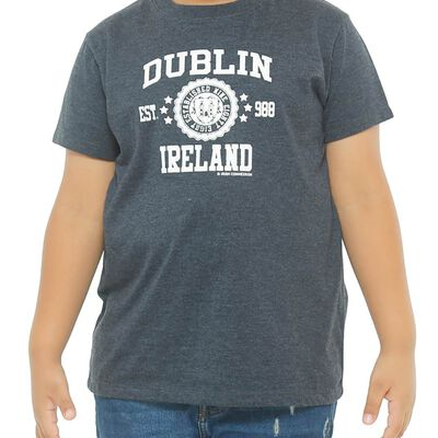 Kids T-Shirt With Dublin Ireland Est 988 and Dublin Crest Print  Black Colour