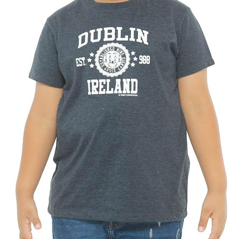 Kids T-Shirt With Dublin Ireland Est 988 and Dublin Crest Print  Black Colour
