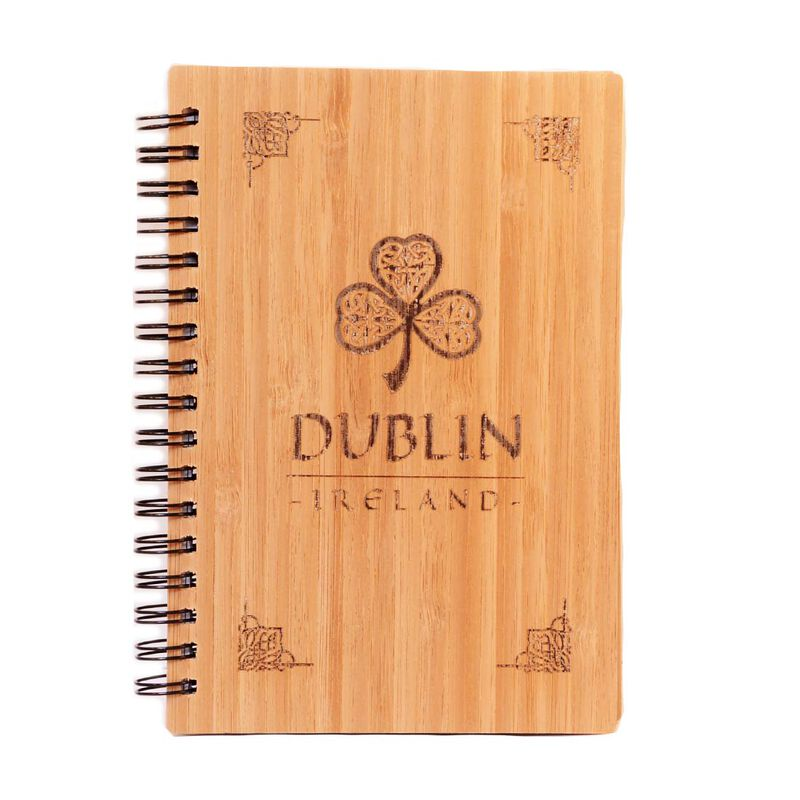 Irish Wooden Designed Dublin Ireland Notebook With Celtic Shamrock Design