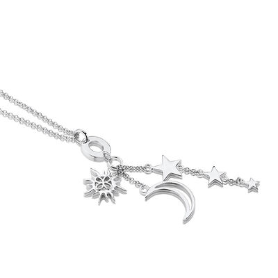 Silver Plated Amy Huberman Newbridge Silverware Sun, Moon & Stars Charm Necklace