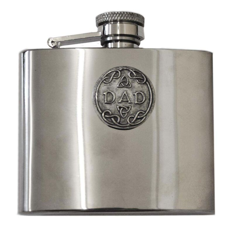 Mullingar Pewter 4Oz Hip Flask With Trinity Design And Dad Text