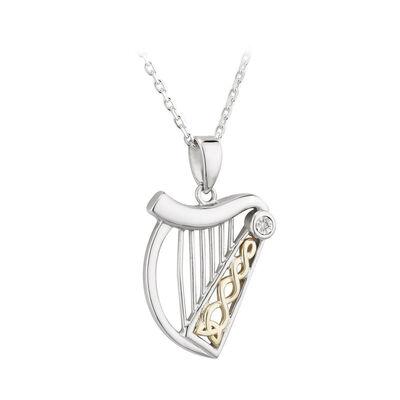 Hallmarked Sterling Silver & 10CT Gold & Diamond Harp Pendant
