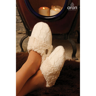 Aran Knitted Slip On Slippers
