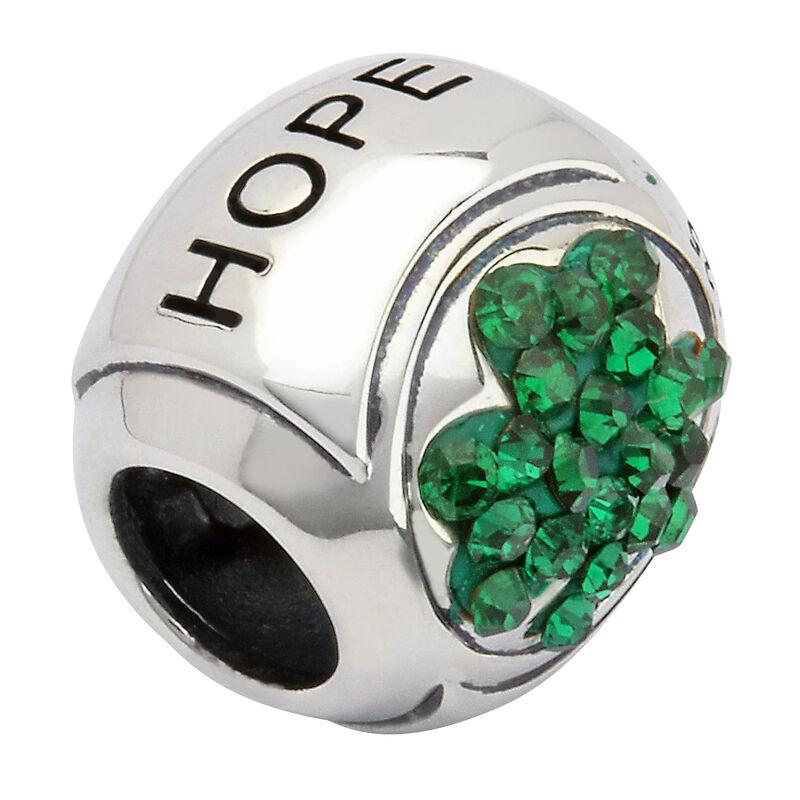 Hallmarked Sterling Silver Green Shamrock Stoned Hope Charm