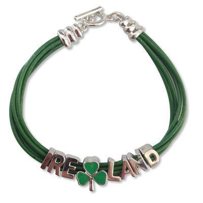 """Grünes Armband mit strassbesetztem Wort """"Irland"""""""