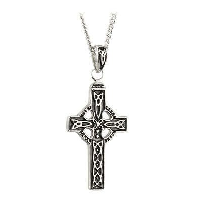 Pewter Designed Celtic Cross Designed Pendant With Trinity Knots