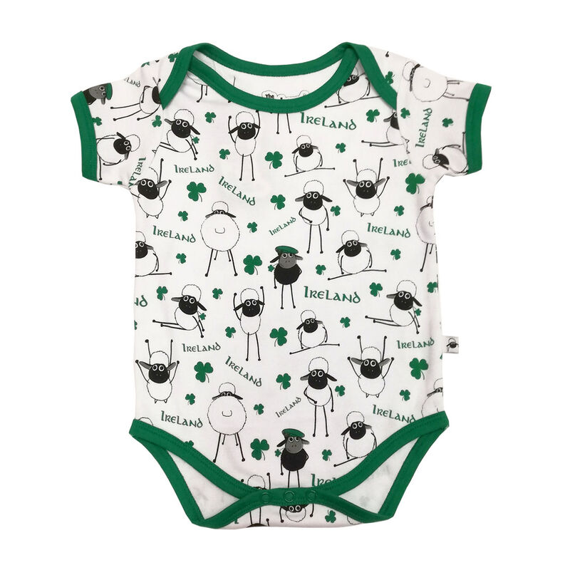White Irish Cotton Baby Vest With Small Sheep and Shamrock Design