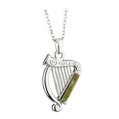 Rhodium Plated Connemara Marble Harp Pendant