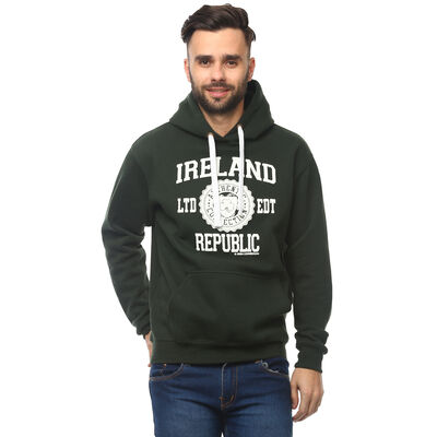 Pullover Hoodie With Ireland Republic Print  Green Colour With White Design