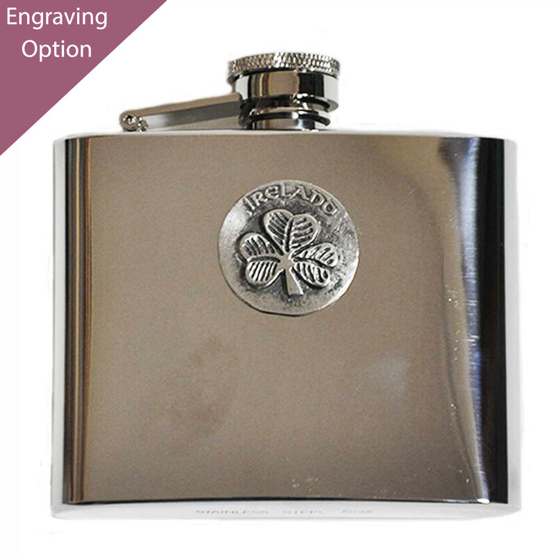 Mullingar Pewter Stainless Steel Hip Flask With Shamrock