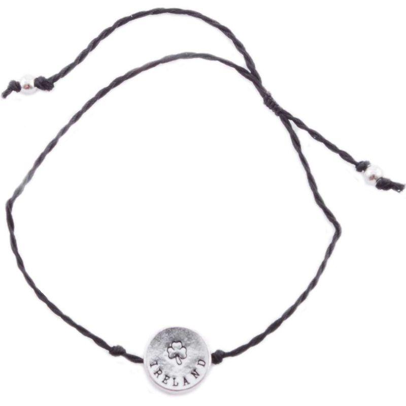 Black Cord Bracelet With Ireland Shamrock Charm