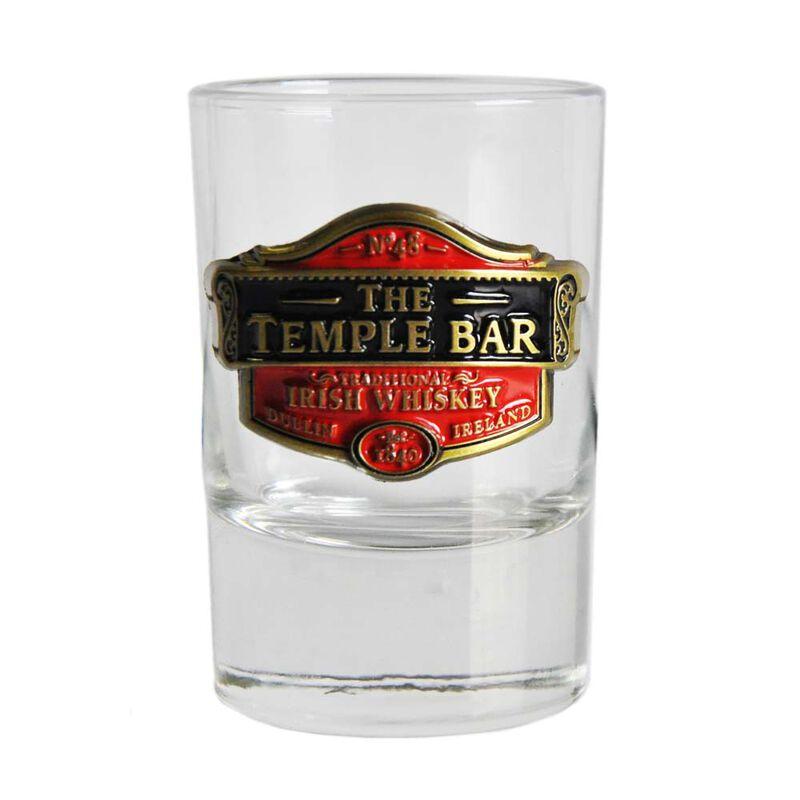 Loose Shot Glass With Temple Bar Traditional Irish Whiskey Metal Badge Design
