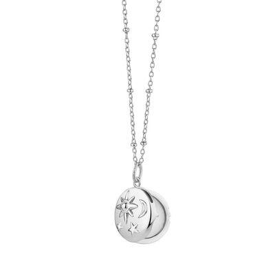 Silver Plated Amy Huberman Newbridge Silverware Locket with Sun, Moon & Stars Design