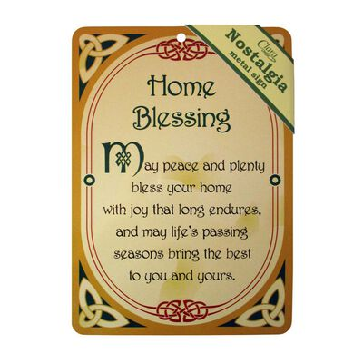 Nostalgia A5 Metal Sign With Home Blessing Text And Celtic Design