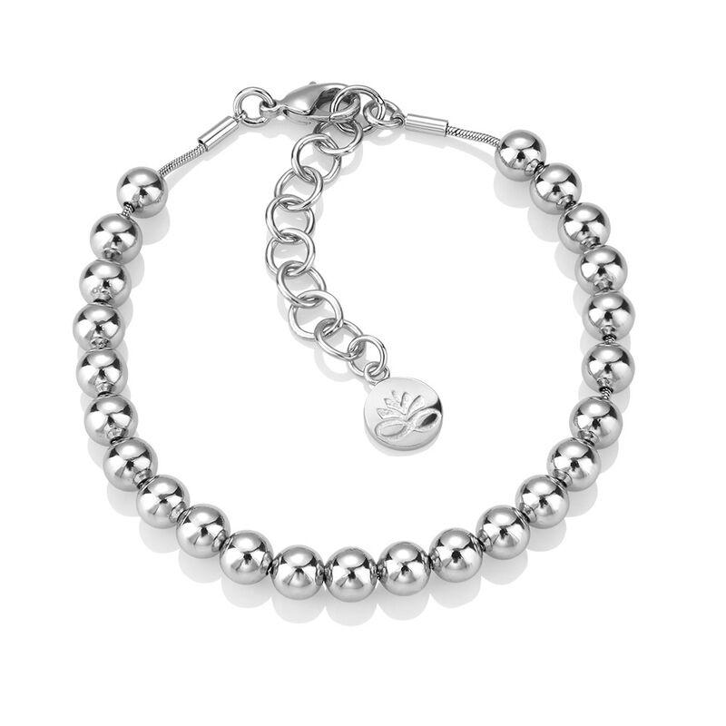 Newbridge Silverware Ti Amo Small Rhodium Plated Bead Bracelet