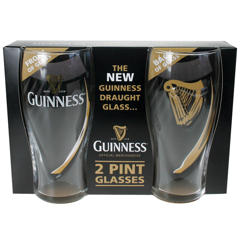 Guinness Logo 2 Pack Pint Glass Set With Embossed Harp