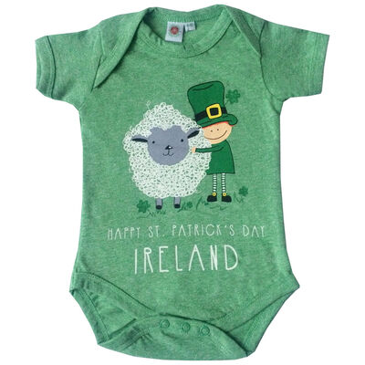 St. Patrick's Day Green Baby Vest With Leprechaun And Sheep Design