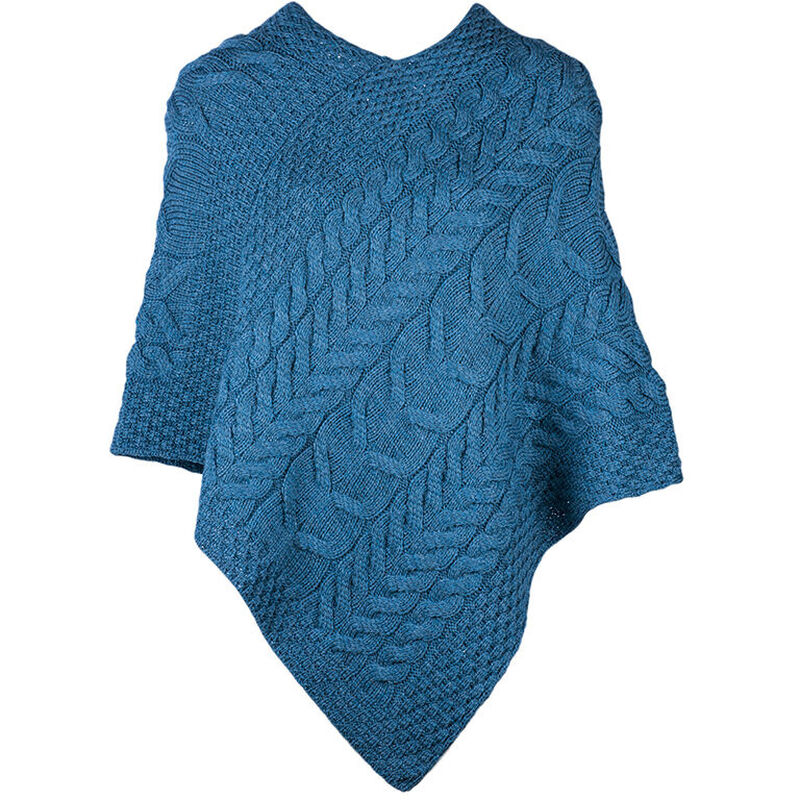 Super Soft Merino Wool Triangular Aran Cable Knit Design Poncho  Blue Colour
