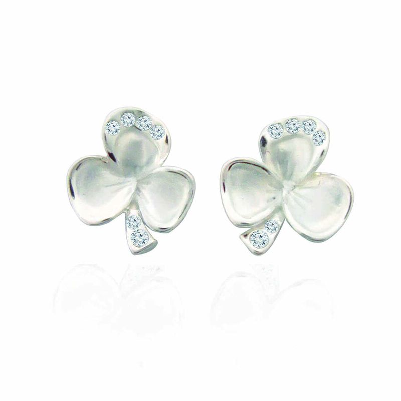 Silver Plated Shamrock Leaf Stud Earrings With Diamante Detail