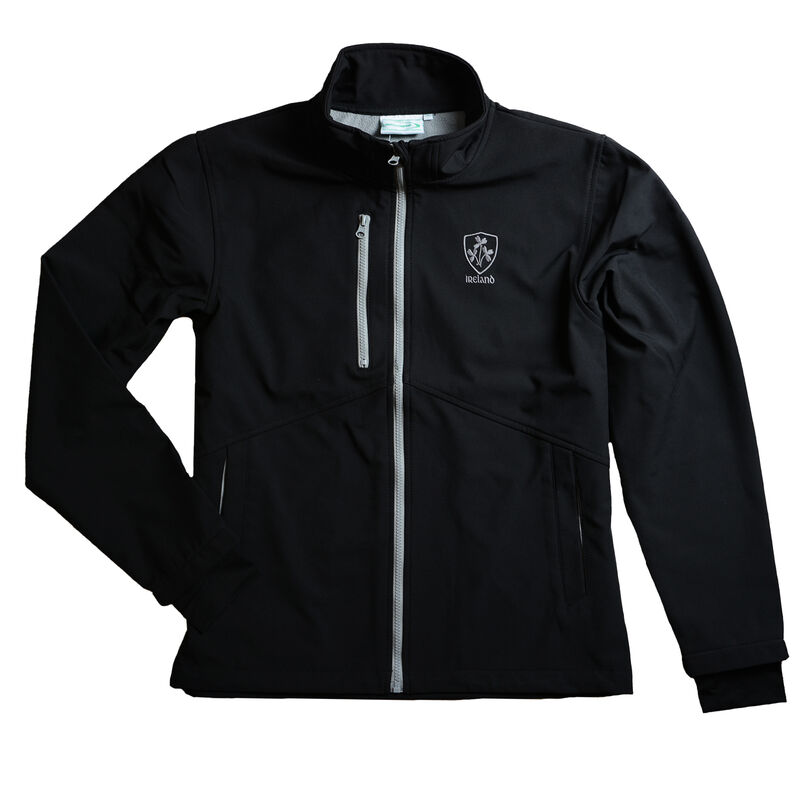 Schwarze Irland-Softshell-Jacke mit grauer Borte und Kleeblattwappen