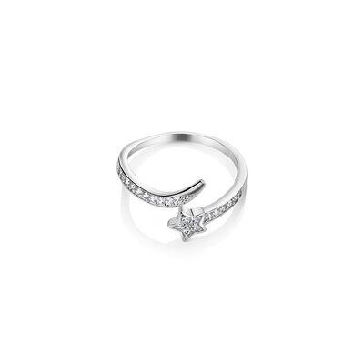 Newbridge Silverware Star Ring Clear with Stones