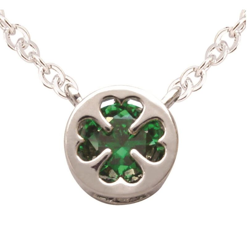 Silver Plated Pendant With Four Leaf Clover Design And Green Cubic Zirconia