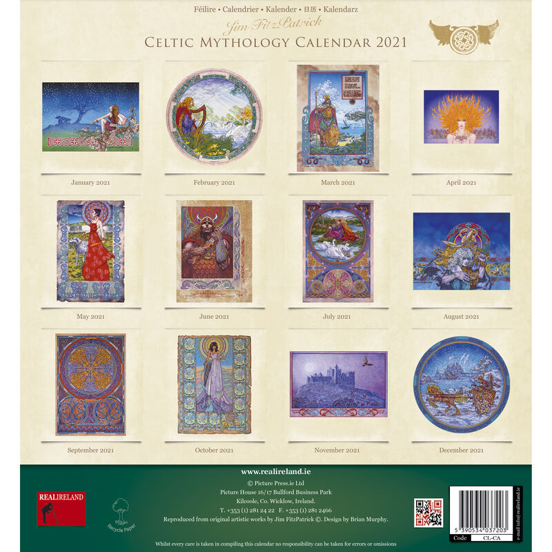 Large Celtic Mythology 2021 Calendar by Jim Fitzpatrick