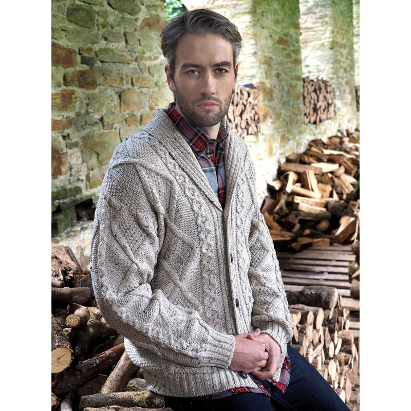 100% Merino Wool Aran Shawl Collar Grandfather Cardigan, Oatmeal Colour