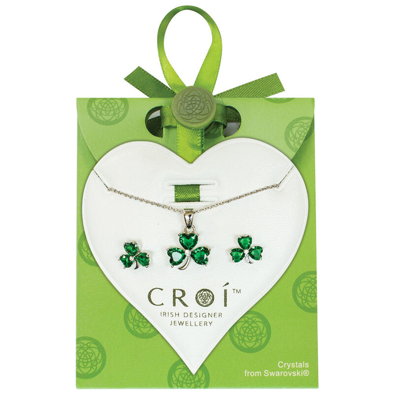 Irish Croi Shamrock Necklace and Earrings Set With Swarovski Crystal Stones