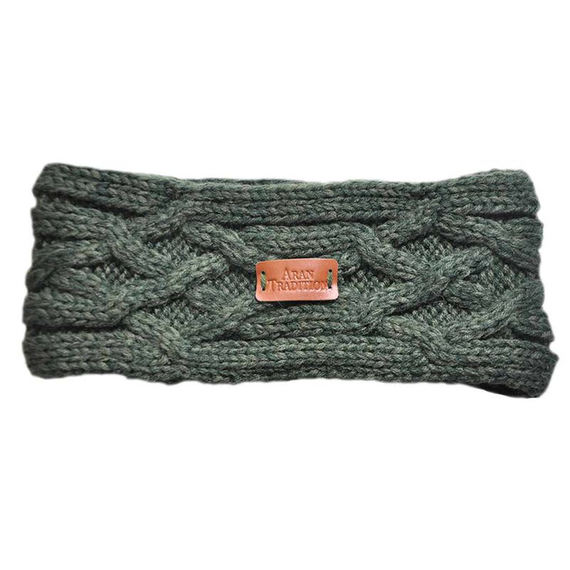 Aran Knitted Traditional patterns Headband  Dark Green Colour