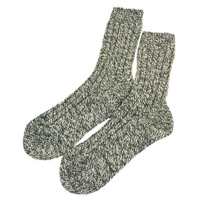 Doogan Donegal 100% Pure Wool Irish Walking Socks  Marl Green And White Colour