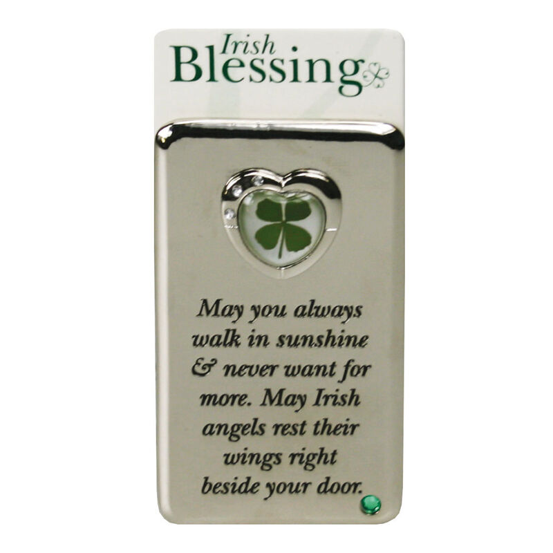 Metal Magnet With Four Leaf Clover Blessing To Walk In Sunshine