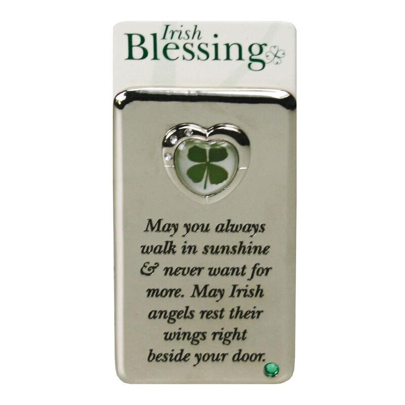Metall-Magnet mit vierblättrigem Kleeblatt  Segen Möge dein Weg voller Sonnenschein sein