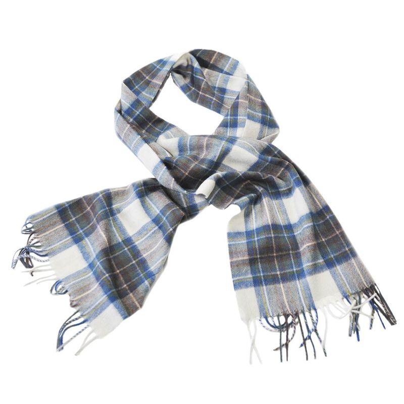 Celtic Irish Wool Scarf With Blue  Grey and Cream Design