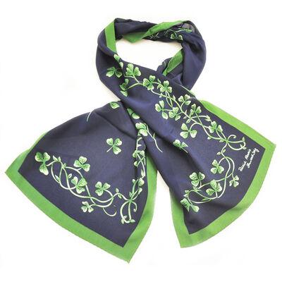 Irish Navy Celtic Silk Scarf With Shamrock Print and Green Border