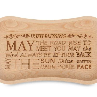 Unique Oak Handcrafted Wooden Tray With Irish Blessing Engraving
