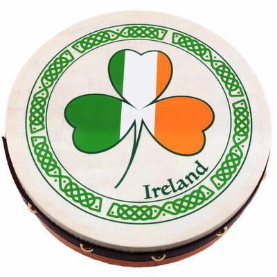 "Irish Bodhran with Beater and Shamrock Design 8"""