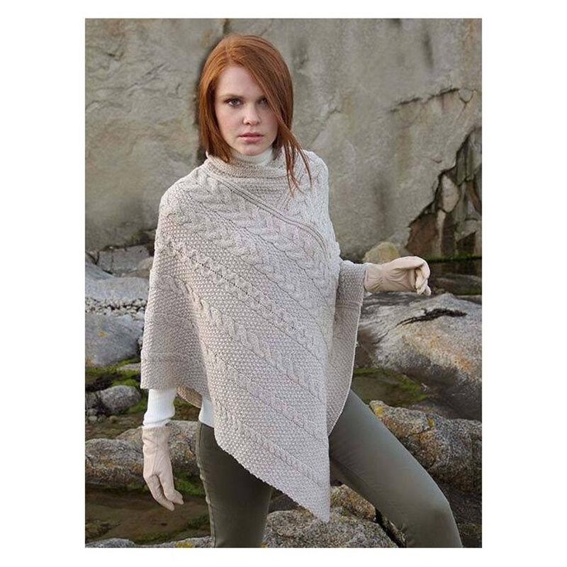 100% Merino Wool Aran & Cable Pattern Poncho, Parsnip Colour