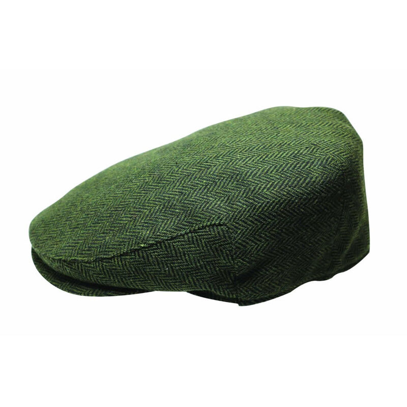 Quiet Man Collection Green Herringbone Wool Cap Premium Quality