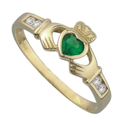 Claddagh-Ring aus 9-karätigem Gold mit smaragdfarbenem Cubic Zirkonia-Stein