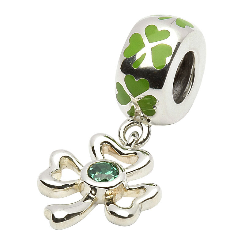 Hallmarked Sterling Silver Green Bead Charm With Drop Shamrock Design