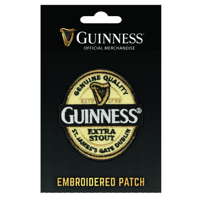 Official Guinness Embroidered Sew On Patch With Label Design