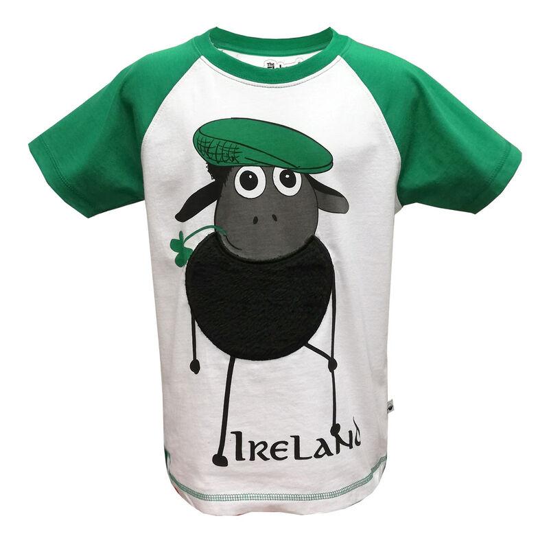 White And Emerald Green Raglan Kids T-Shirt With Farmer Sheep Design